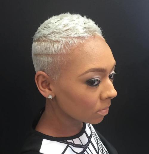 blonde TWA hairstyle