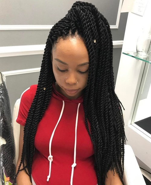 Ponytail Half Updo For Senegalese Twists