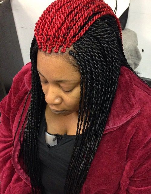 red and black melange Senegalese twists