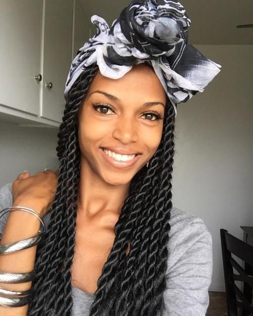 Senegalese Twists With A Head Wrap