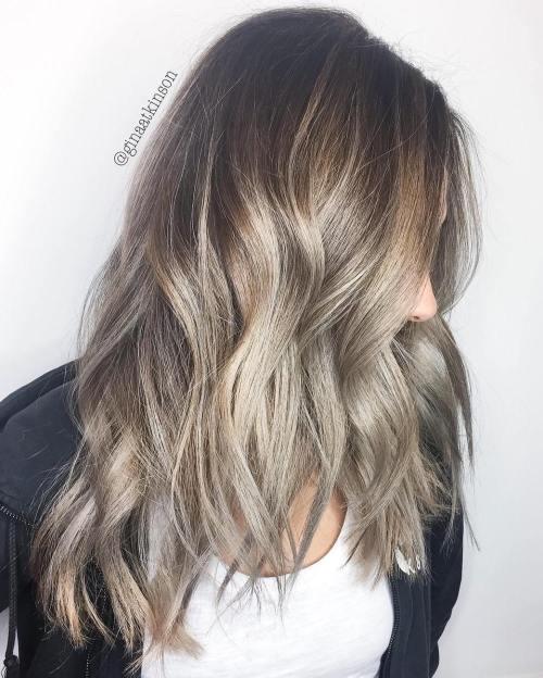 Brown Choppy Hair With Ash Blonde Balayage