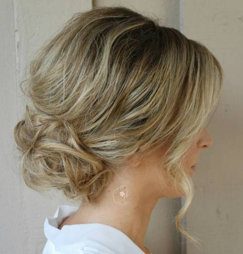 Low Loose Curly Bun