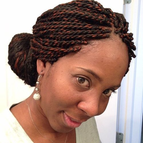 low bun for melange Senegalese twists