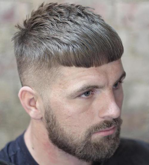 Caesar Haircut with fade