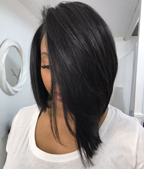 Asymmetrical Sew-In Bob