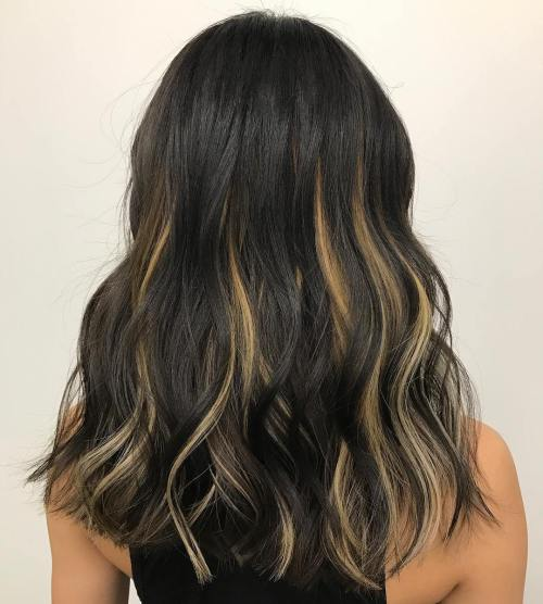 40 ideas of peek a boo highlights for any hair color black hair with blonde highlights pmusecretfo Gallery