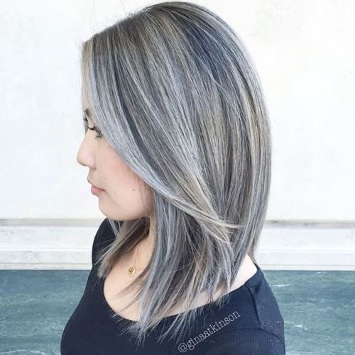 Black Hair With Gray Balayage