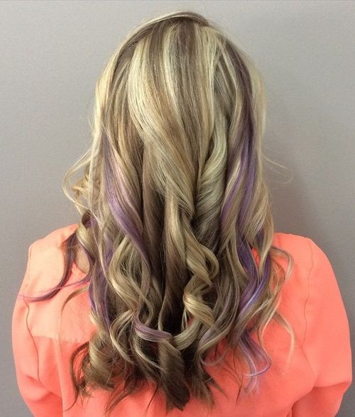 brown blonde hair with lavender highlights