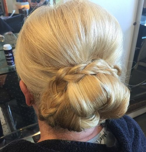 bun wrapped with a braid for older women