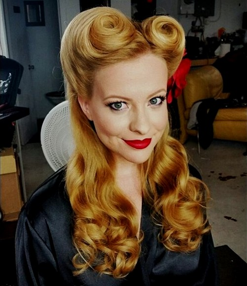 40 pin up hairstyles for the vintage loving girl half up victory rolls pin up updo solutioingenieria Image collections