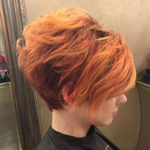short red hairstyle with subtle copper highlights