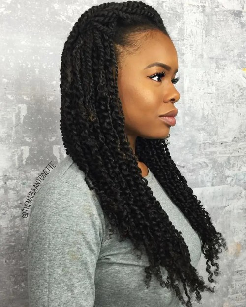 kinki twist hair style 30 twists hairstyles to try in 2017 6153 | 1 simple loose hairstyle for kinky twists