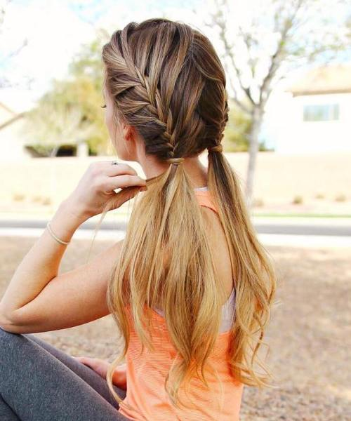 Two Braids With Ponytails For Long Hair