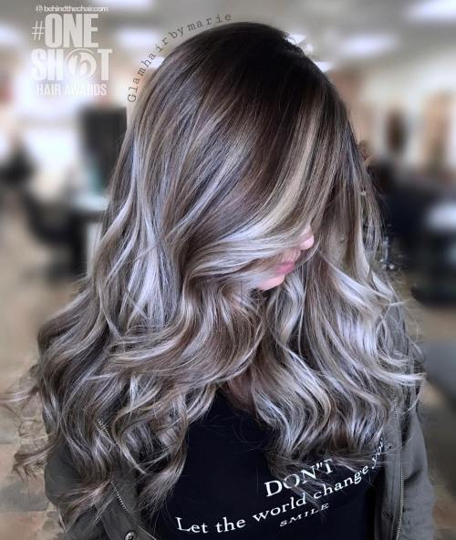 45 Ideas Of Gray And Silver Highlights On Brown Hair