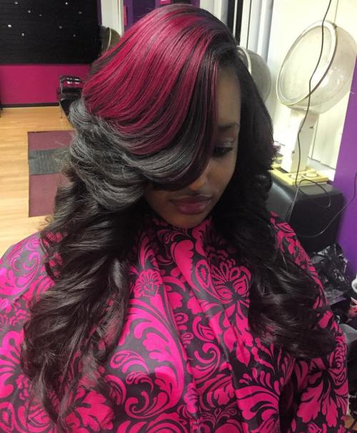 Long Layered Black Sew In With Pink Balayage
