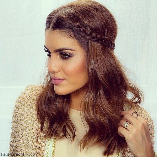 wavy half up braided hairstyle
