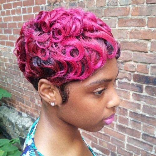 African American pixie with finger waves