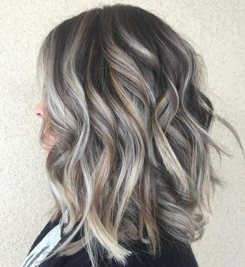 Layered Dark Hair With Gray Highlights