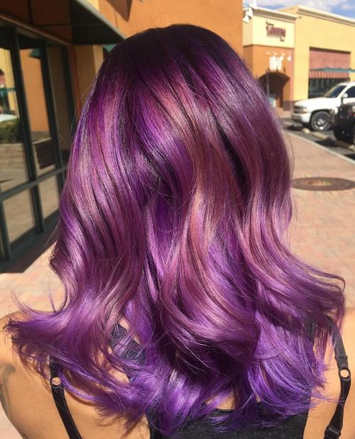 purple hair with rosewood highlights