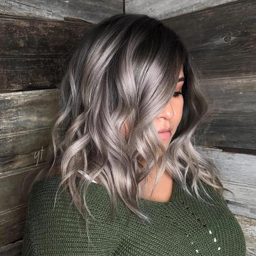 Shiny Silver Brown Balayage For Medium Hair