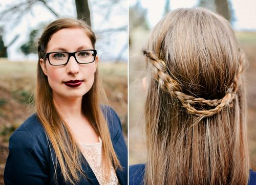 casual braided half up half down hairstyle