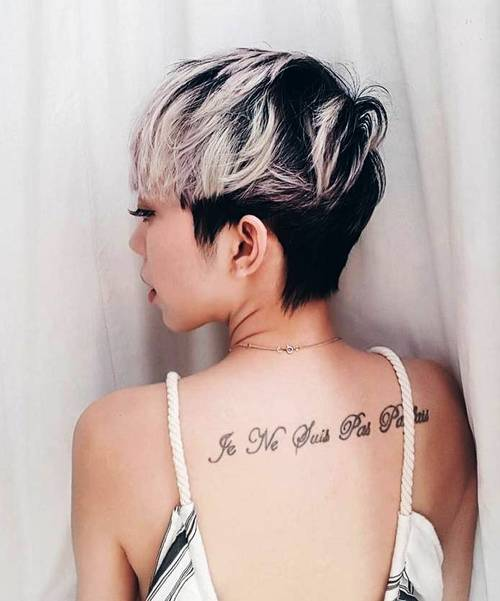 short black hairstyle with platinum balayage