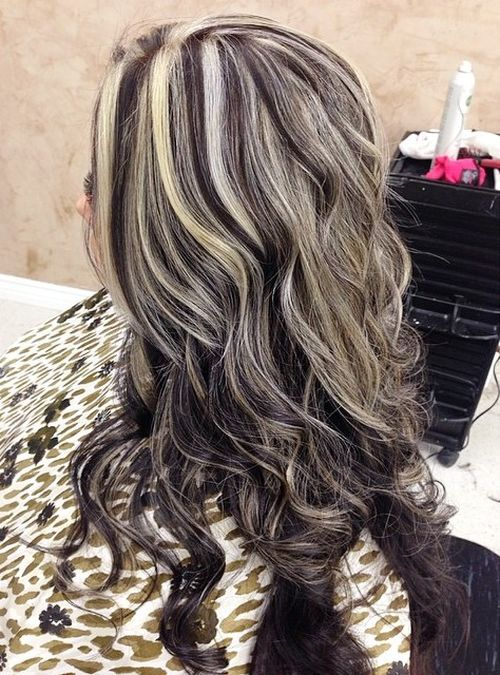 long brown hairstyle with ash blonde highlights