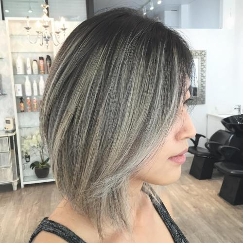 Dark Brown Bob With Ash Blonde Balayage