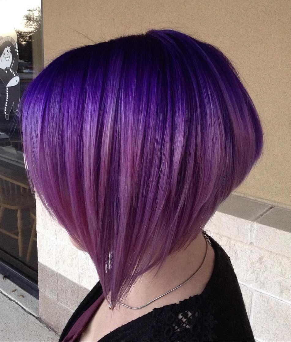40 versatile ideas of purple highlights for blonde brown and red hair layered purple ombre bob pmusecretfo Image collections