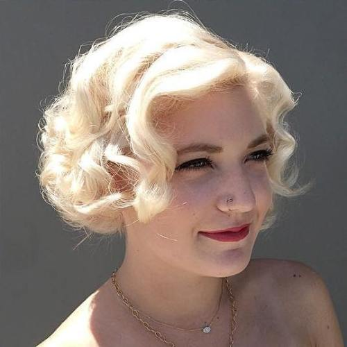 Curly Blonde Vintage Bob