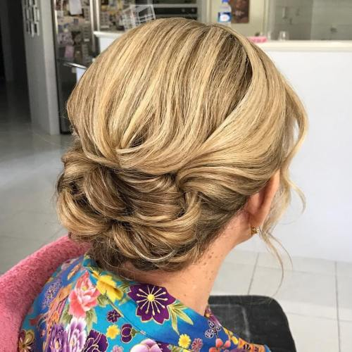 low twisted bun updo for older women