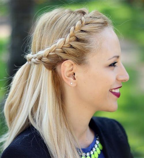 half up half down crown braid hairstyle
