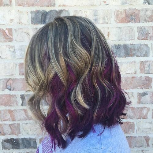 40 versatile ideas of purple highlights for blonde brown and red hair long brown bob with blonde and purple highlights pmusecretfo Images