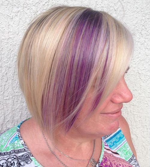 blonde bob with lavender balayage