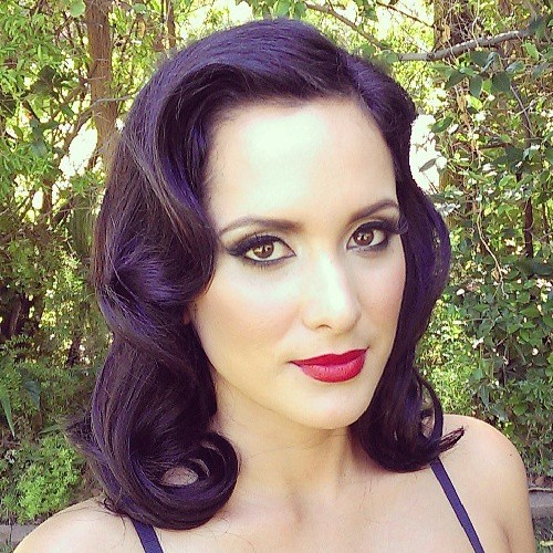 Medium Brunette Pin Up Hairstyle
