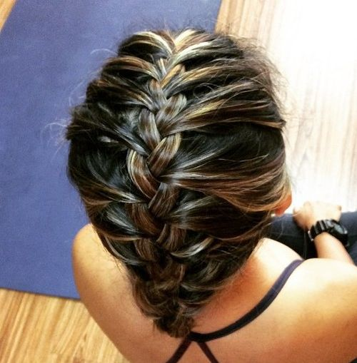 simple french braided workout updo