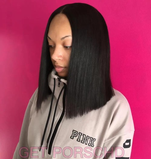 African American Centre-Parted Sew-In Bob