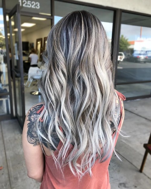 Ash Blonde And White Balayage Long Hair