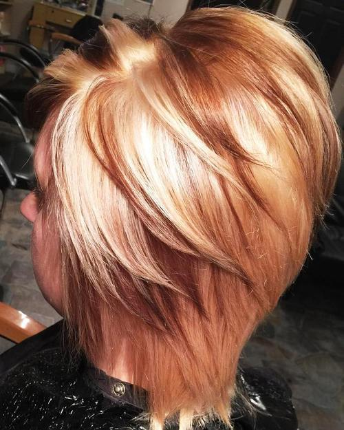 short blonde angled haircut with lowlights