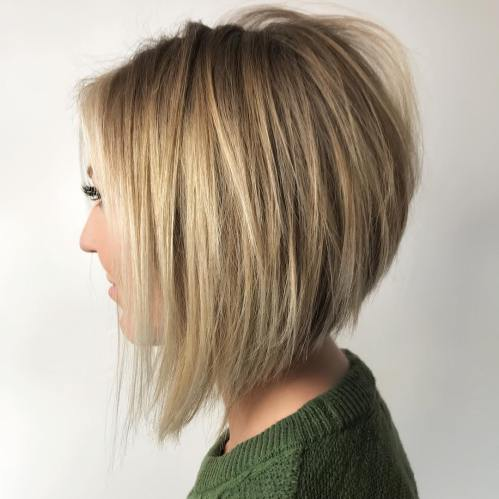 Wispy Stacked Bob For Straight Hair