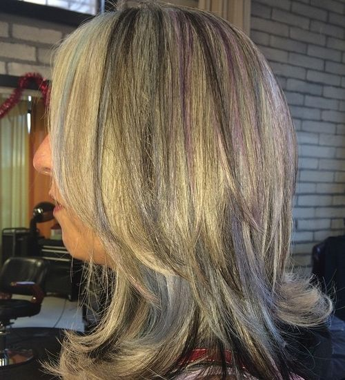 40 ideas of peek a boo highlights for any hair color blonde hair with black and purple highlights pmusecretfo Choice Image