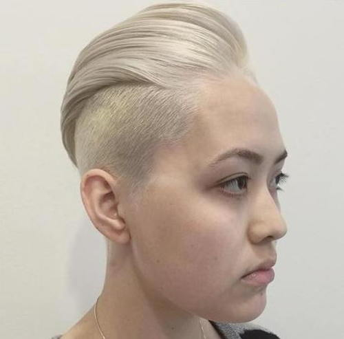 short ash blonde undercut haircut