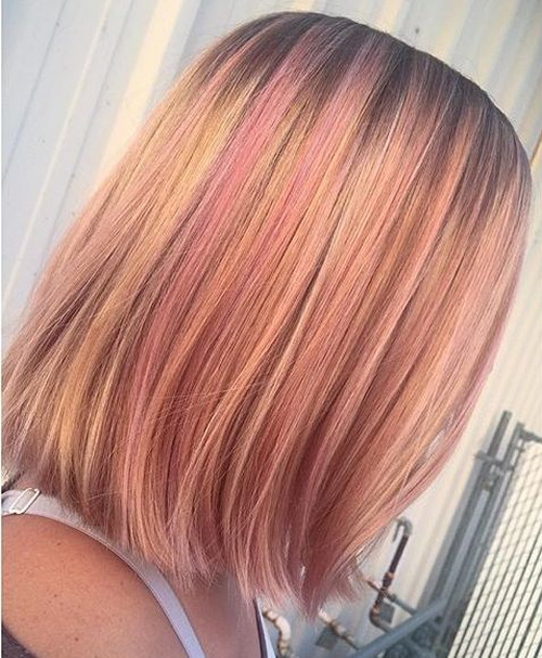 40 best pink highlights ideas for 2018 strawberry blonde bob with pastel pink highlights pmusecretfo Choice Image
