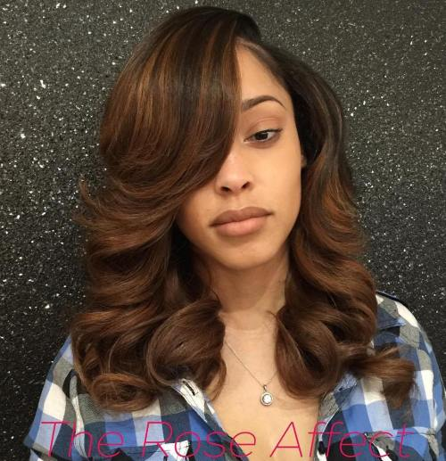 Sew hot 40 gorgeous sew in hairstyles brown weave hairstyle with bangs and highlights pmusecretfo Gallery