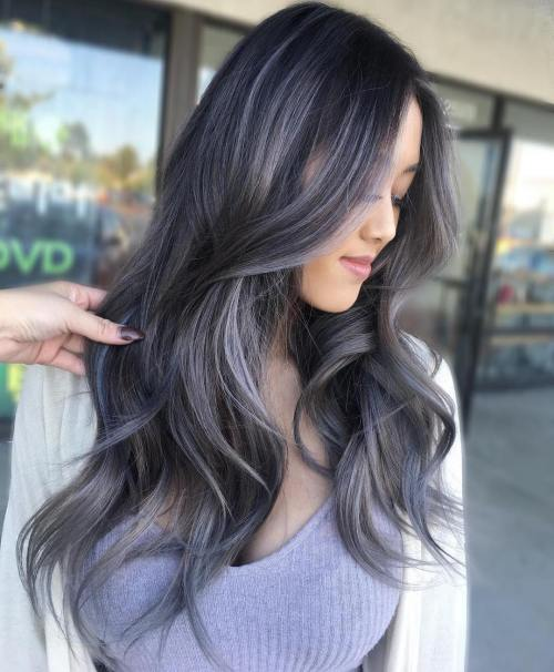 Dark Brown Hair With Silver Balayage