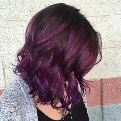 40 versatile ideas of purple highlights for blonde brown and red hair. Black Bedroom Furniture Sets. Home Design Ideas