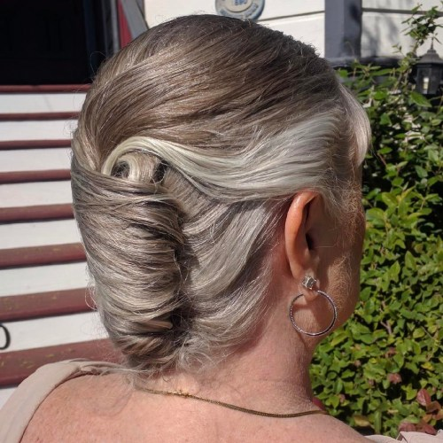 Older Women's French Roll Updo