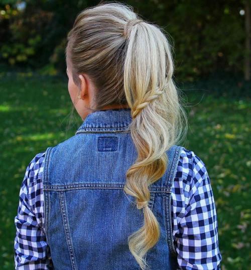 ponytail with a braid around