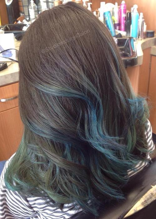 brown hair with pastel blue balayage