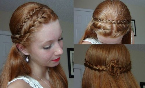 cute red half up braided hairstyle